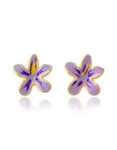AZ Collection   Garden Line - Фиолетовые Серьги-Цветы из Эмали   Clouty