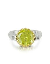 Tryo | Кольцо из Серебра 925 пробы и Розового Золота с Зеленым Кубиком Циркония | Clouty