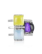 Mia & Beverly | Кольцо из Белого Золота 18 карат с Бриллиантами и Драгоценными Камнями | Clouty
