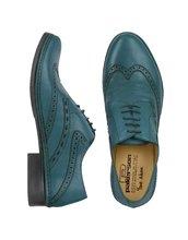 Pakerson | Итальянские Зеленовато-синие Кожаные Оксфорды с Декорированным Мысом | Clouty