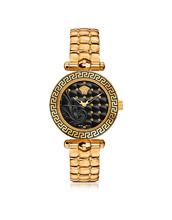 Versace | Micro Vanitas - Позолоченные Женские Часы с Узором Барокко на Черном Циферблате | Clouty