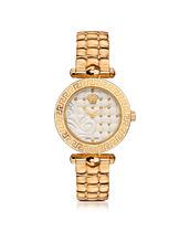 Versace | Micro Vanitas - Позолоченные Женские Часы с Узором Барокко на Белом Циферблате | Clouty