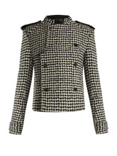 Haider Ackermann | Raw-edge hound's-tooth wool-blend jacket | Clouty