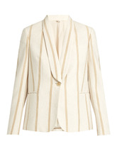 Brunello Cucinelli | Striped single-breasted cotton-jersey jacket | Clouty