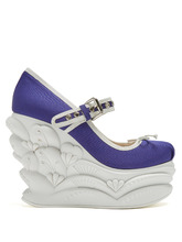 MIU MIU | Embossed faille ballet wedge pumps | Clouty