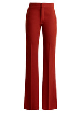 Chloé | Mid-rise flared crepe trousers | Clouty