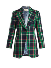 GUCCI | Checked tiger-applique wool jacket | Clouty