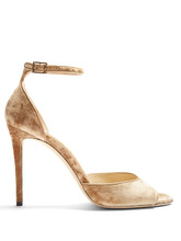 Jimmy Choo | Annie 100mm crushed-velvet sandals | Clouty