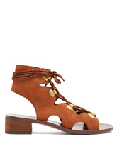 See by Chloé | Lace-up block-heel suede sandals | Clouty