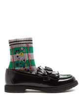 FENDI | Rockoko sock-lined leather loafers | Clouty