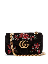 GUCCI | GG Marmont mini quilted-velvet cross-body bag | Clouty