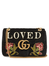 GUCCI | GG Marmont medium quilted-velvet shoulder bag | Clouty