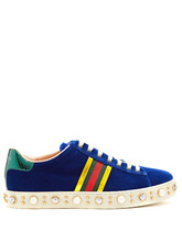 GUCCI | New Ace faux-pearl and crystal velvet trainers | Clouty