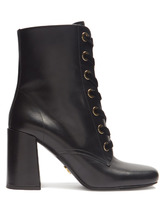 PRADA | Velvet lace-up leather ankle boots | Clouty