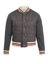 MONCLER | Striped-trim quilted-panel bomber jacket | Clouty