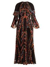 Etro | Makalu geometric-print pleated chiffon gown | Clouty