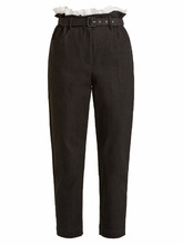 Isa Arfen | Belted tapered-leg denim cropped trousers | Clouty