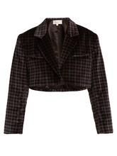 Isa Arfen | Tartan-checked cotton-velvet cropped jacket | Clouty