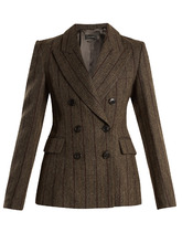Isabel Marant | Kelsey double-breasted striped wool-blend jacket | Clouty
