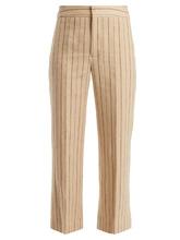 Isabel Marant   Keroan striped flared cropped linen-blend trousers   Clouty