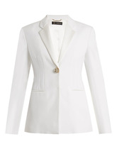 Versace   Single-breasted satin-trimmed cady blazer   Clouty