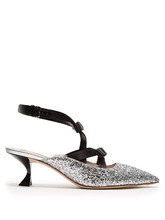 MIU MIU | Glitter and bow-embellished point-toe mules | Clouty
