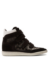 Isabel Marant   Bilsy embellished concealed-wedge leather trainers   Clouty
