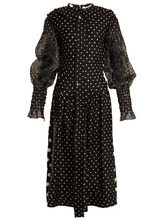 Loewe | Polka dot-print smocked silk and cotton dress | Clouty