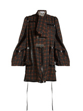 Loewe | Leather-trimmed checked-wool mini dress | Clouty