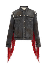GUCCI | Fringed floral-embroidered denim jacket | Clouty