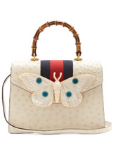 GUCCI | Moth-embellished ostrich-leather bag | Clouty