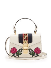 GUCCI | Sylvie mini embroidered leather shoulder bag | Clouty