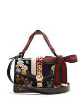 GUCCI | Sylvie embroidered leather shoulder bag | Clouty