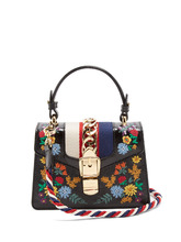 GUCCI | Sylvie mini floral-embroidered shoulder bag | Clouty