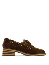 GUCCI | Thompson logo-jacquard velvet derby shoes | Clouty
