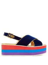GUCCI | Peggy velvet platform sandals | Clouty