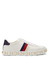 GUCCI | New Ace faux-pearl embellished leather trainers | Clouty