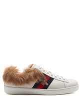 GUCCI | Ace bee-embroidered wool and leather trainers | Clouty