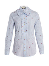 GUCCI | Bee fil coupe striped cotton shirt | Clouty
