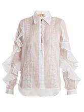 No. 21   Ruffle-panelled cotton shirt   Clouty