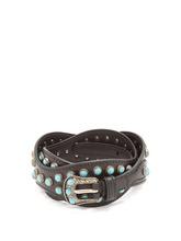 PRADA | Stone-embellished wavy leather belt | Clouty