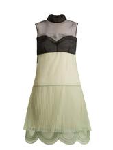 PRADA | Cigaline contrast-panel pleated organza dress | Clouty