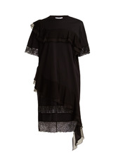 GIVENCHY | Asymmetric ruffled-trimmed cotton-jersey dress | Clouty