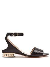 Nicholas Kirkwood | Lola pearl-heeled sequin-embellished sandals | Clouty
