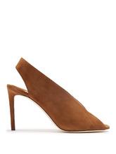 Jimmy Choo | Shar 85mm peep-toe suede slingback sandals | Clouty