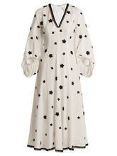 Andrew Gn | Floral-embroidered puff-sleeved silk midi dress | Clouty