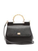 Dolce & Gabbana | Sicily medium wicker handle leather bag | Clouty
