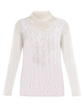 VALENTINO | High-neck Chantilly-lace blouse | Clouty