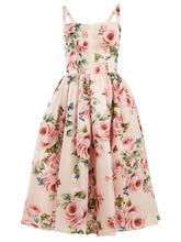 Dolce & Gabbana | Rose-print silk organza dress | Clouty