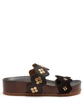Chloé | Lauren double-strap leather flatform sandals | Clouty